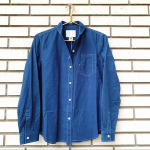 NWT YMC Blue Micro Dot Cotton Button Up Shirt